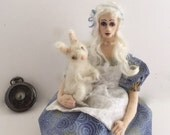 Cloth art doll posable Alice in Wonderland needle felted white rabbit unique gift wire armature