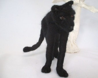 Panther needle felted black cat poseable animal totem unique cat gift