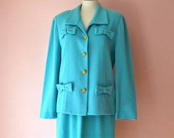 Turquoise Knit Skirt Suit.Sweater Jacket.Jackie O Suit.1960's 1970's Castleberry.Aqua Blue.  Modern Size Large - VDS173