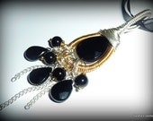 Black Onyx Dangle Pendant, in Silver and Gold, with Organza Ribbon