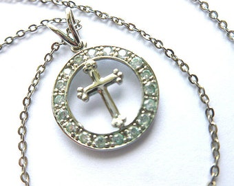 INFINITY CROSS with Crystals, Encircled Silvertone Rhinestone Cross, Vintage Shiny Silver Love Cross & Neck Chain, Silver Cross Necklace