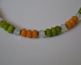 Vibrant Orange and green gemstone necklace