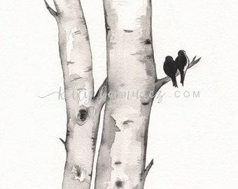 Birch Tree Love No. 1, Love Birds, Romance, watercolor printable, birch tree watercolor, black and white,  Artist Kelly Bermudez
