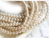 30%OFF SALE Czech pearl beads, Full Strand - Beige - faux pearls, tiny spacers, round, druk - 2mm - 150Pc - 1524