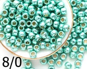 TOHO Seed beads, size 8/0, Permanent Finish Galvanized Green Tea, PF561, metallic green seed beads - 10g - S1080