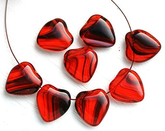 Red Heart beads, top drilled, czech glass red and black beads, red glass heart - 16mm - 8Pc - 2831