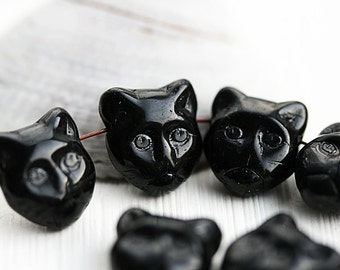 Black Cat beads, side drilled, Black cat head, czech beads, glass cat, pressed, feline, 8pc - 1720