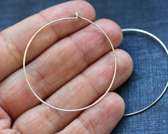 40mm silver hoops, Sterling silver hoop Earwires, 21Ga wire, for jewelry making - 1pair - F344
