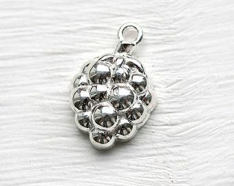 Silver raspberry charm, Sterling silver raspberry pendant, 925 silver, 15mm - 1pc - F364
