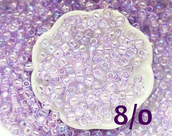 TOHO beads, size 8/0, lilac seed beads, Dyed-Rainbow Lavender Mist N 477, rocailles, glass beads - 10g - S808