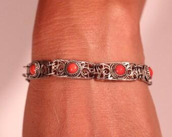 Art Deco Bracelet Sterling Mesh Bracelet  Paste Beads Bracelet Articulated Bracelet 1920s European Jewelry