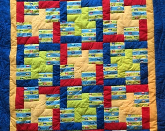 Cars in primary colors baby quilt
