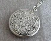 Silver Locket .. Moroccan locket, antique silver plated locket, folk locket, round locket, Boho locket