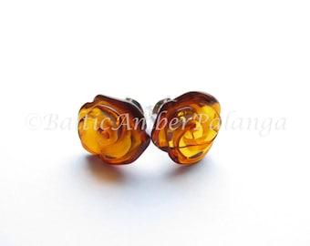 Baltic Amber Darker Cognac Color Rose Earrings
