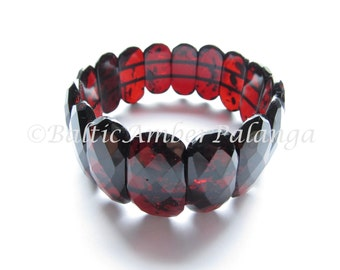 Baltic Amber Cherry Color Faceted Bracelet