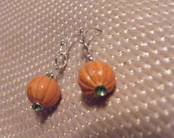 Pumpkin Earrings! Pumpkin Charm, Small Dangle Earrings! OOAK! Halloween Earrings, Thanksgiving Earrings, Fall Earrings, Gift for Her