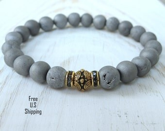 Druzy Agate Bracelet, Silver bracelet, Reiki bracelet, Calming bracelet, yoga bracelet, mala, drusy bracelet, energy, healing bracelet
