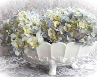 Vintage Milk Glass Footed Bowl, White Milk Glass Serving Bowl, Fruit Bowl, Table Centerpiece, Vintage Home or Wedding Decor