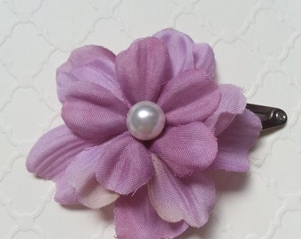 Purple flower snap hair clip