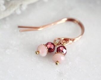 Pink Opal Earrings - Tiny Earrings - October Birthstone Earrings - Opal Jewelry - Pink Stone Earrings