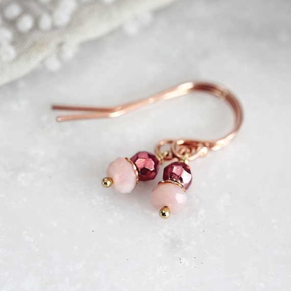 Pink Opal Earrings - Tiny Earrings - October Birthstone Earrings - Opal Jewelry - Pink Stone Earrings