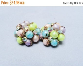 Accessories Sale Vintage Earrings 50s 60s Pastels Balls Iridescent Crystal Rhinestone and Gold Trim Clip On