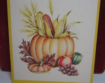 Colorful 1947 Norcross thanksgiving greeting card pumpkin filled with corn cobs and wheat with fall leaves squash grapes apples