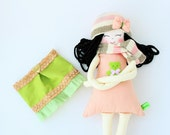New '''' , Marisa, soft doll, handmade  rag doll, wearing  beret ,scarf,skirt and socks ,  ready to ship,stuffed doll