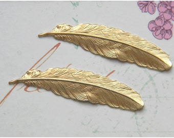 Raw Brass Feather, Brass Feather, Feather Stamping 12mm x 53mm - 4 pcs. (r180)