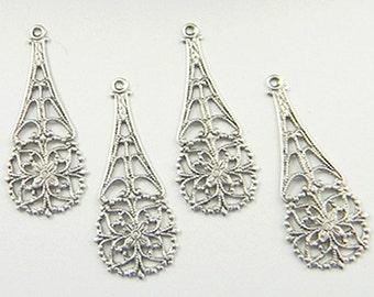 Antiqued Silver Filigree, Teardrop Dangle, Floral Pendant, Brass Filigree 12mm x 31mm - 4 pcs. (sl101a)