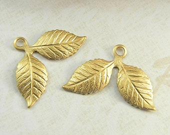 Double Leaves, Brass Leaf Charms, Raw Brass Stamping, Brass Finding, Dapped Dapt 26mm x 17mm - 6 pcs. (r297)