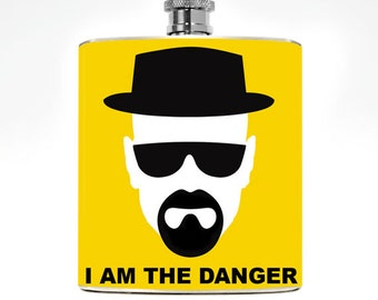 Breaking Bad Gift Walter White Mens Flask Liquor Womens Geekery Heisenburg Quotes Guys Birthday I am the danger quote