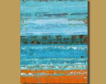 FREE SHIP abstract painting, ocean painting, turquoise and orange, minimalist, abstract art, vertical art, original art, modern art, 24x30