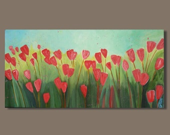 abstract painting, abstract flowers, gift for her, pink flowers, whimsical, impressionist, panorama, small art ready to hang original canvas