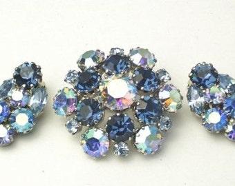 Austria Signed Aurora Borealis & Sapphire Blue Rhinestone Stunning Vintage Demi Parure Costume Jewelry BROOCH  EARRIN