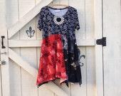 HOLD......Bohemian Lagan dress L-XL black rustic Asian dress Tunic gypsy tattered upcycled fashion dress