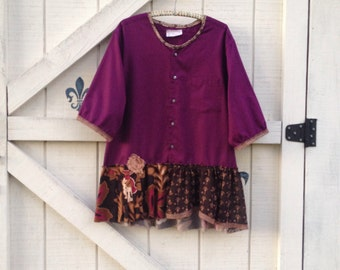 Rustic tunic blouse romantic blouse, boho blouse, upcycled purple brown tunic top
