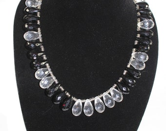 Black and Crystal Teardrop Necklace
