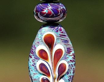 Floating Fern Handmade Lampworked Glass Beads OOAK Set of Three Aqua Purple Amber White Shield Rondelles Lampwork