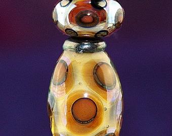 Giraffe Dreams Handmade Lampworked Glass Beads OOAK Set of Three Opal Yellow Silver Amber Tile Red Barrel Rondelles Dots Lampwork