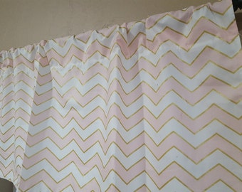 Glitz Confection,  White, and Gold Chevron  Curtain Panels or Valance