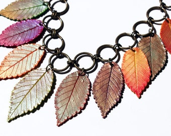 Polymer Clay Necklace and earrings, Fall leaves, chain necklace, polymer necklace, Fimo leaves jewelry, leaf charm necklace, autumn leaves