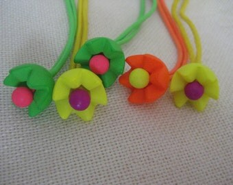 Vintage Set of 5 NEON Flower Hair Ties
