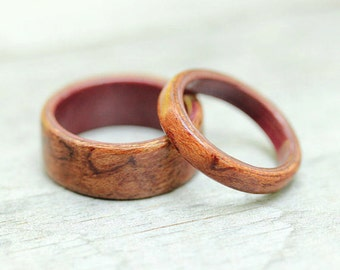 Waterfall Bubinga featuring Purpleheart Liner - Bentwood Ring Set - And We Plant A Tree:)