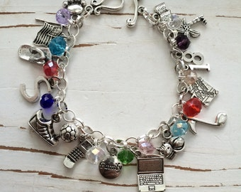 CHILD side MEGA PERSONALIZeD Charm Bracelet, (WITH COLoR Crystals), FrEE Shipping by Okrrah
