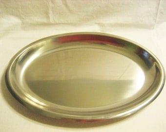 Kalmar Danish Modern 18/8 Stainless Steel Oval Serving Platter or Tray Vintage 1960s Made in Denmark