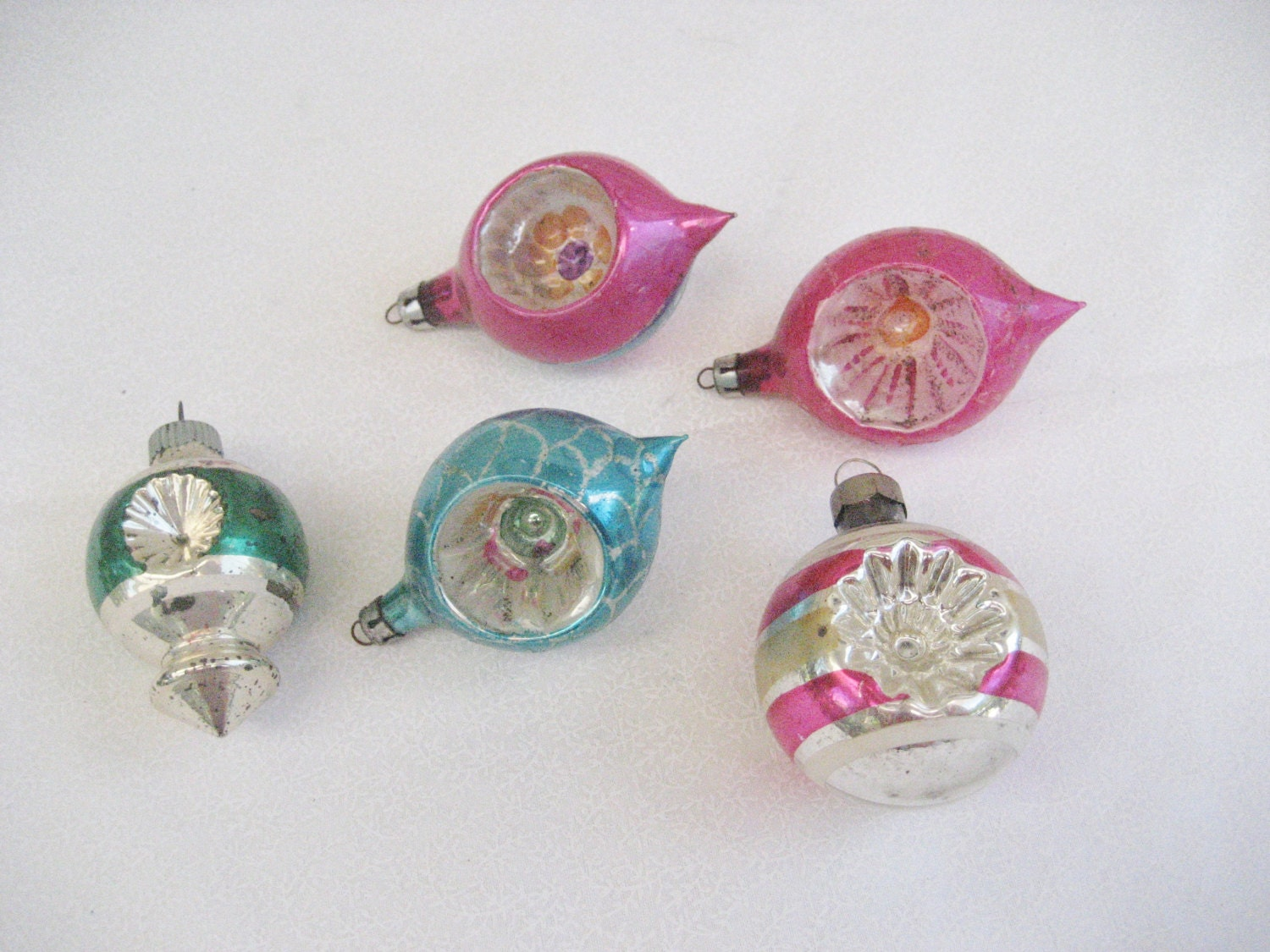 Small glass indent shaped christmas tree ornaments vintage
