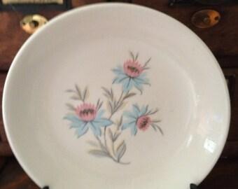 Vintage Steubenville Fairlane Blue and Pink Cornflower China Coupe Soup Bowls,  Set of 4