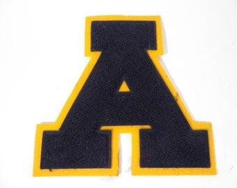 Vintage Varsity Letter A - Blue Gold Varsity Letter