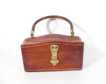 Mid Century Calf Leather Box Handbag - Made in Italy Calf Leather Purse